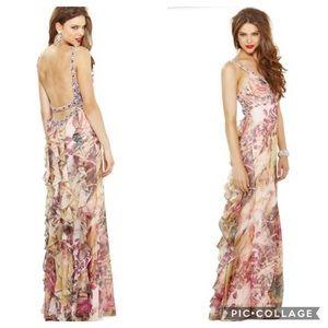 Faviana printed chiffon long dress